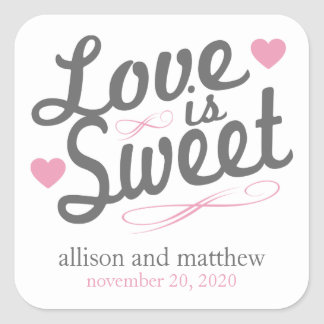 Love Is Sweet Old Fashioined Labels (Gray / Pink) Square Sticker