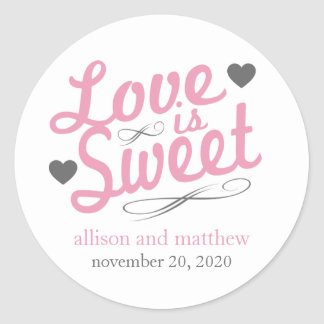 Love Is Sweet Old Fashioined Labels (Pink / Gray)