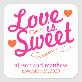 Love Is Sweet Old Fashioined Labels (Pink/Orange) Square Sticker