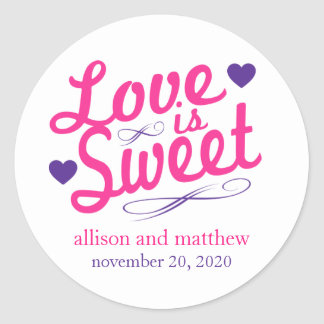 Love Is Sweet Old Fashioined Labels (Pink/Purple) Round Sticker