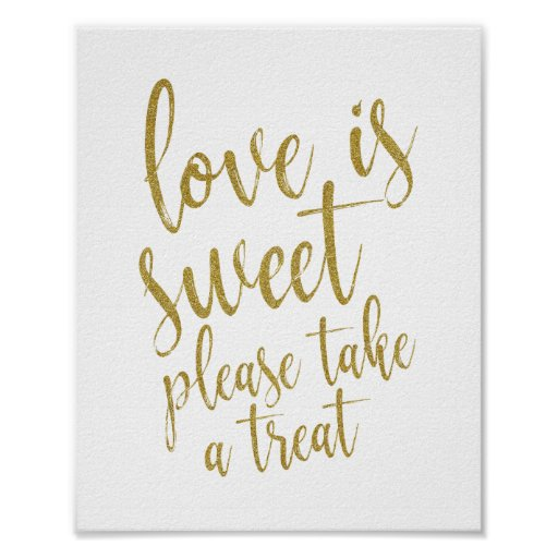 Love is sweet please take a treat Gold