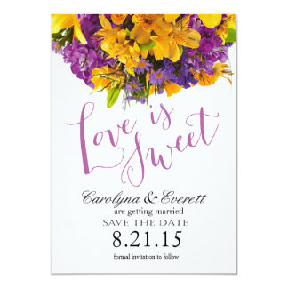 Love is Sweet Save the Date | yellow purple 13 Cm X 18 Cm Invitation Card