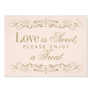 Love is Sweet Sign | Antique Gold Flourish 17 Cm X 22 Cm Invitation Card