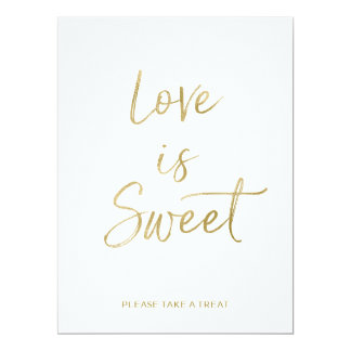 Love is Sweet Sign | Stylish Gold Hand Lettered Card