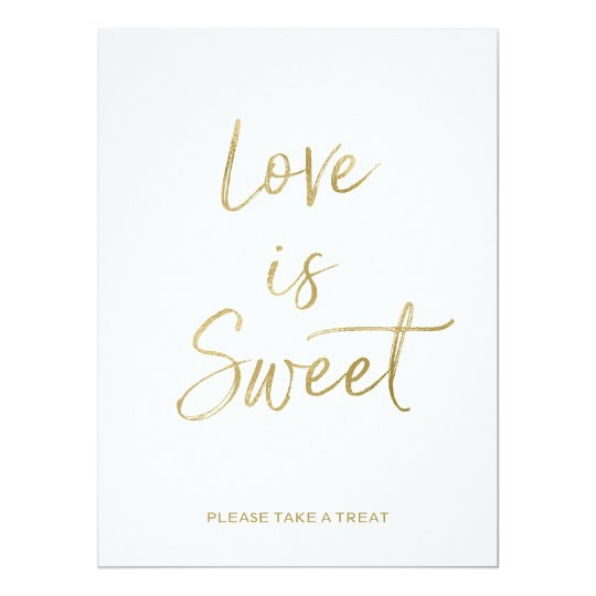 Love is Sweet Sign | Stylish Gold Hand Lettered Invitation