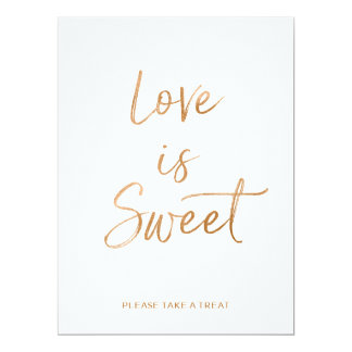 Love is Sweet Sign   Stylish Gold Rose Lettered Card