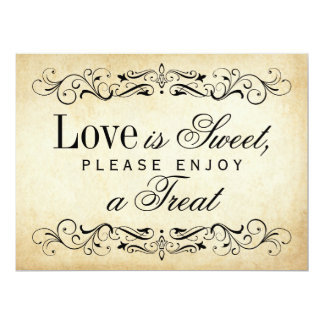 Love is Sweet Sign | Vintage Flourish 17 Cm X 22 Cm Invitation Card