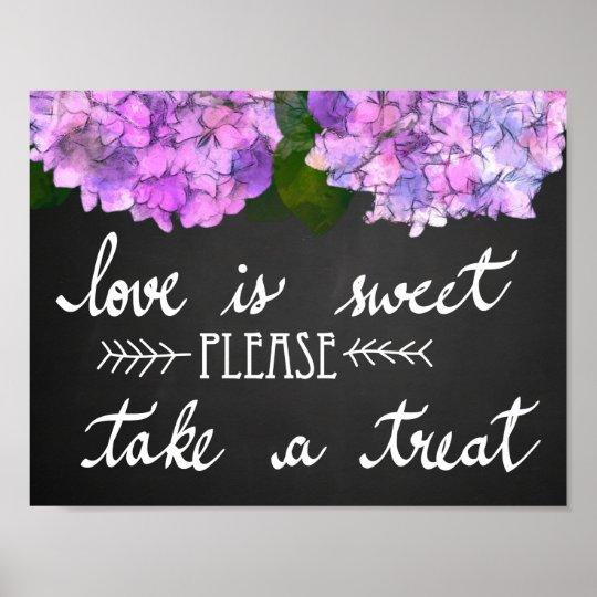 Love Is Sweet Take A Treat Chalkboard Wedding Poster