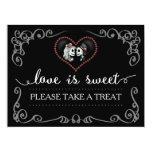 Love is Sweet Take a Treat Halloween Skeleton Sign 17 Cm X 22 Cm Invitation Card