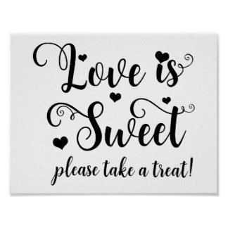 Love is Sweet Take a Treat Wedding Table Sign