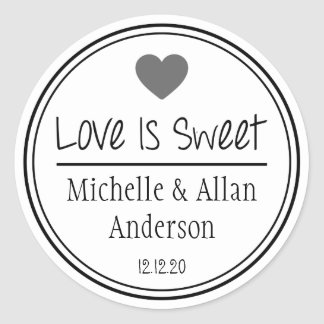 Love Is Sweet The New Mr. & Mrs. (Gray / Black) Classic Round Sticker