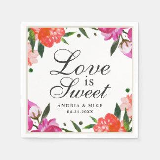 Love is Sweet | Tropical Watercolor Flowers Disposable Serviette