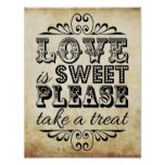 Love Is Sweet - Vintage Wedding Sign Poster
