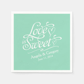 Love is Sweet Wedding | Candy Buffet Mint Green Disposable Napkin