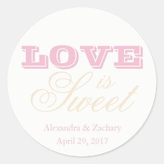 Love is Sweet Wedding Favor Sticker Blush Champagn