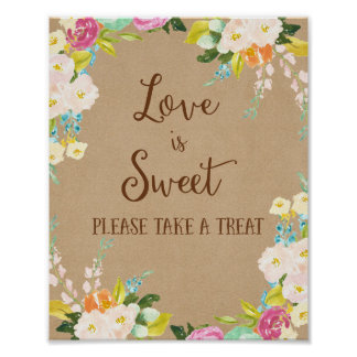 Love is Sweet Wedding Poster Print