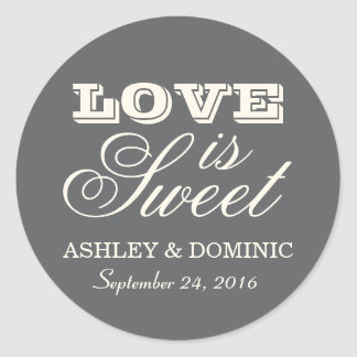 Love is Sweet Wedding Sticker | Charcoal Gray