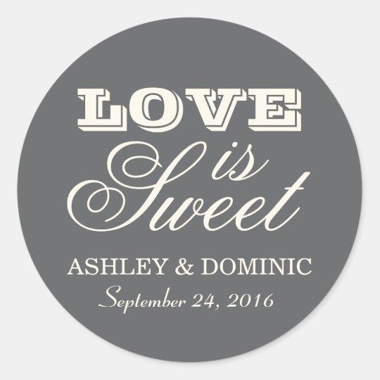Love is Sweet Wedding Sticker   Charcoal Grey