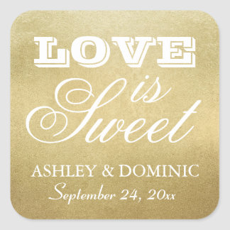 Love is Sweet Wedding Sticker | Gold Foil