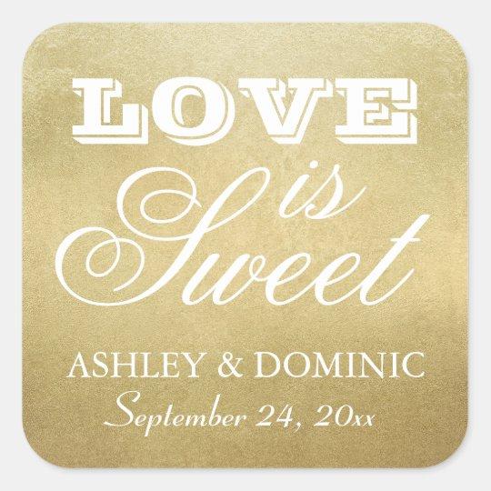 Love is Sweet Wedding Sticker   Gold Foil