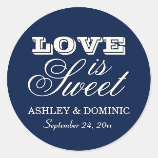 Love is Sweet Wedding Sticker | Navy Blue