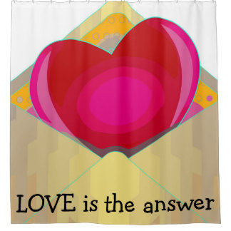 LOVE is the answer Beautiful Heart Shower Curtain