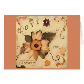 Love is the Answer Floral Art Quote Pink Card