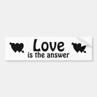 Love is the Answer Heart Black Bumper Sticker