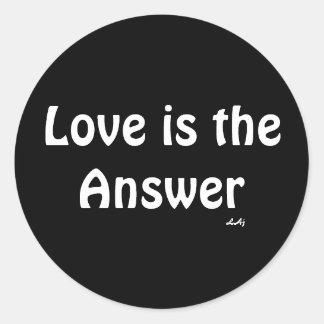 Love is the Answer White on Black Round Sticker
