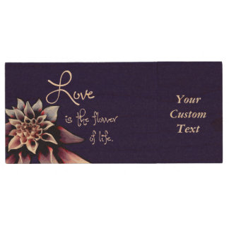 Love is the Flower of Life Wood USB 3.0 Flash Drive