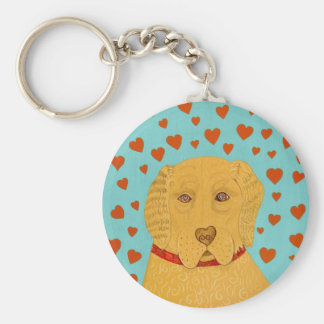 Love is the Goldens Rule- Stephen Huneck Basic Round Button Key Ring