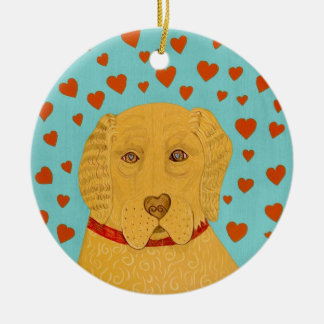Love is the Goldens rule- Stephen Huneck Christmas Ornament