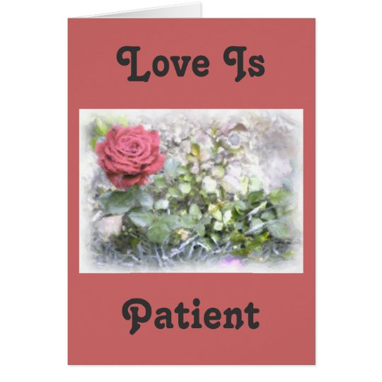 Love Is Verse Mini Red Rose Greeting Card