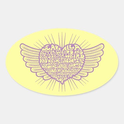 Love is Weird III Oval Stickers