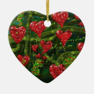 Love is Weird - Red Hearts on Strange Abstract Ceramic Heart Decoration