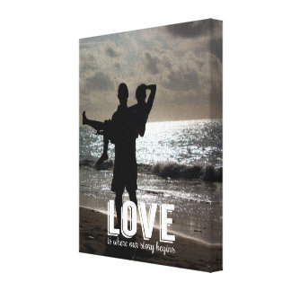 Love is Where our Story Begins Couple Photo Canvas Gallery Wrapped Canvas
