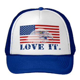 LOVE IT Patriotic U.S. Flag & Eagle Trucker Hat