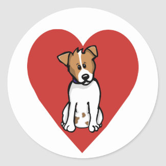 Love Jack Russell Classic Round Sticker
