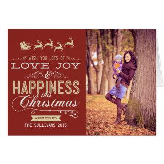 LOVE, JOY & HAPPINESS CHRISTMAS PHOTO FOLDED CARD