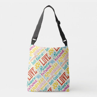 Love Joy Peace Kindness Goodness Typography Art Crossbody Bag