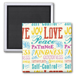Love Joy Peace Kindness Goodness Typography Art Square Magnet