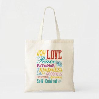 Love Joy Peace Kindness Goodness Typography Art Tote Bag