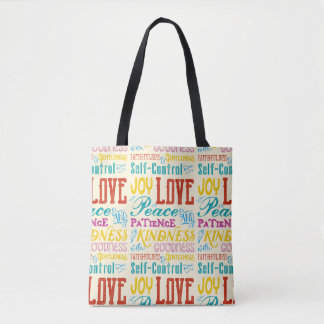 Love Joy Peace Kindness Goodness Typography Art Tote Bag