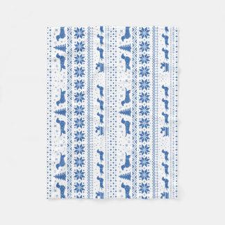 Love Joy Peace Wiener Dogs Blue Christmas Pattern Fleece Blanket