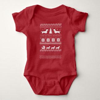 Love Joy Peace Wiener Dogs Christmas Pattern Baby Bodysuit