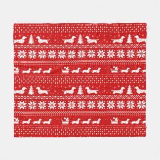 Love Joy Peace Wiener Dogs Christmas Pattern Fleece Blanket
