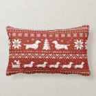 Love Joy Peace Wiener Dogs Christmas Pattern Lumbar Cushion