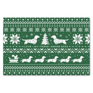 Love Joy Peace Wiener Dogs Christmas Pattern Tissue Paper