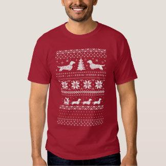 Love Joy Peace Wiener Dogs Christmas Pattern Tshirts