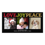 Love Joy Peace woodblock black Christmas greeting Picture Card